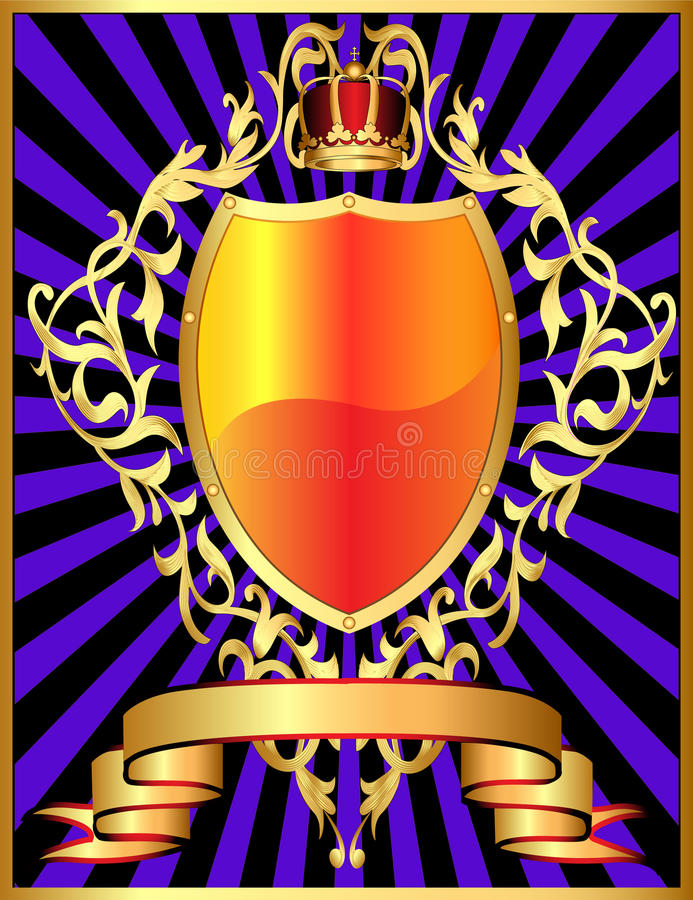 Shield with corona and gold pattern stock illustration