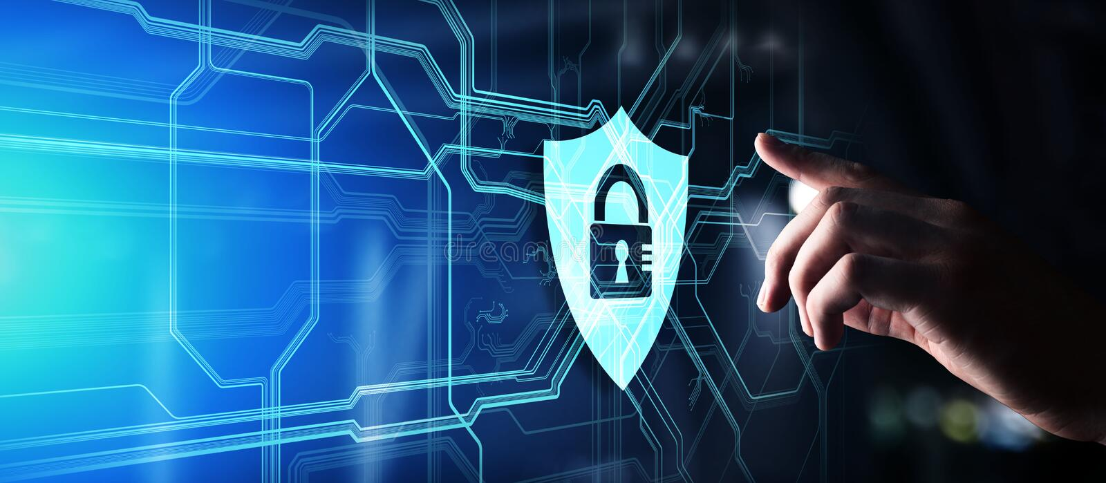 Shield cyber security concept on virtual screen. Data protection. Information privacy. royalty free stock photography