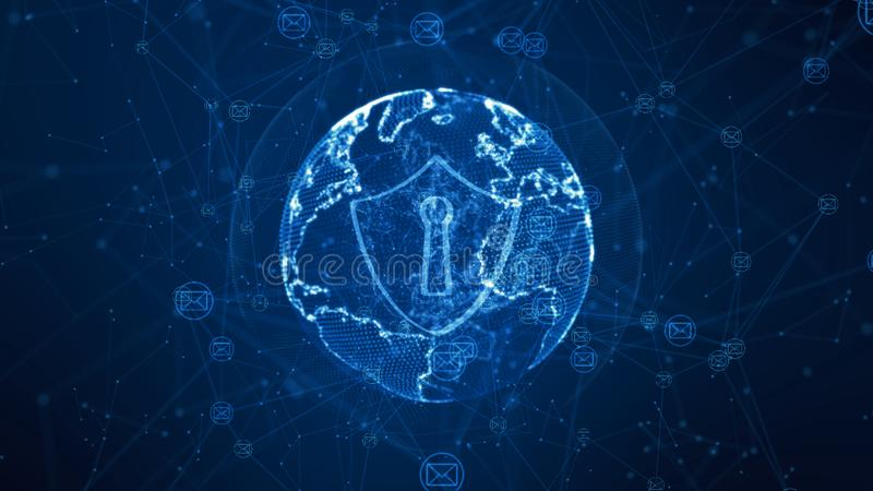 Shield and email icon on secure global network, Cyber security concept. Earth element furnished by Nasa stock illustration