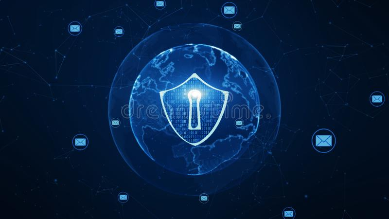 Shield and email icon on secure global network , Cyber security concept. Earth element furnished by Nasa stock illustration