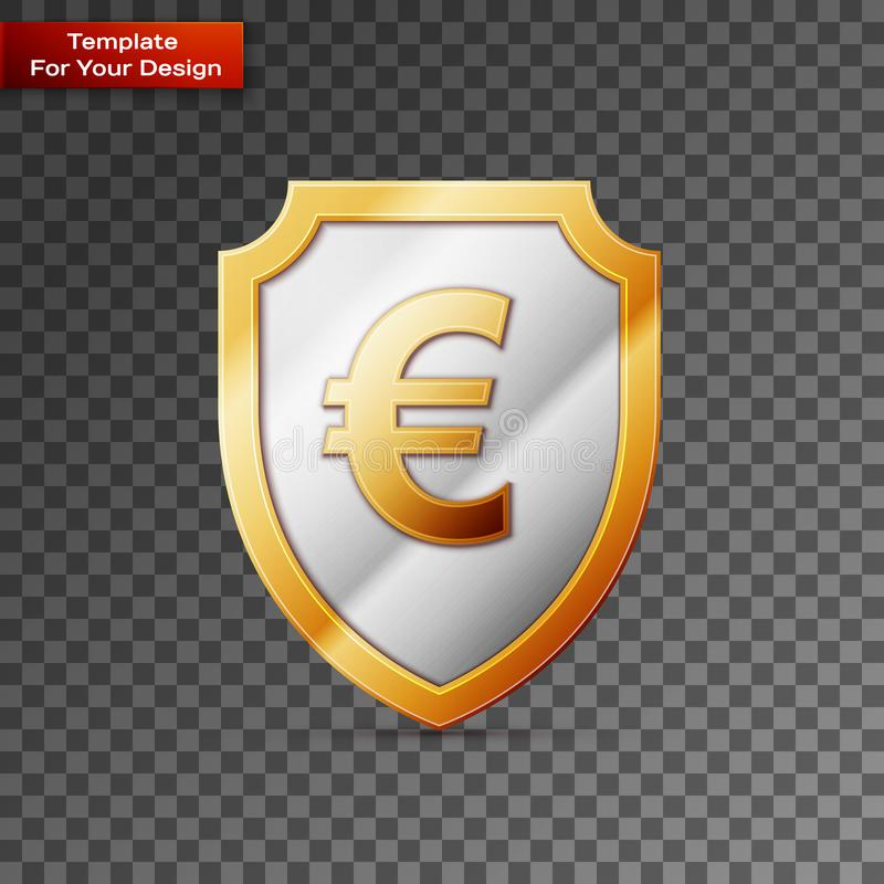 Shield with euro sign On transparent Background stock illustration