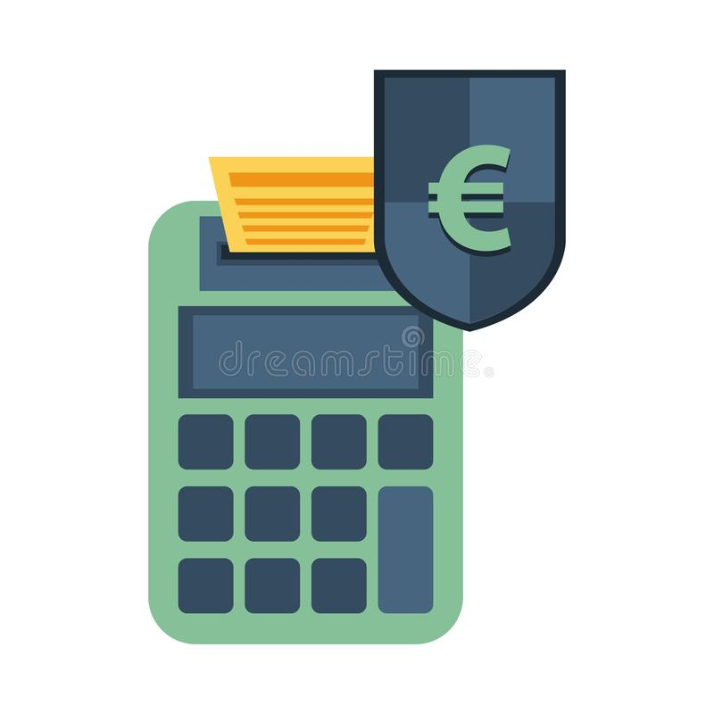 Shield with euro symbol and calculator vector illustration