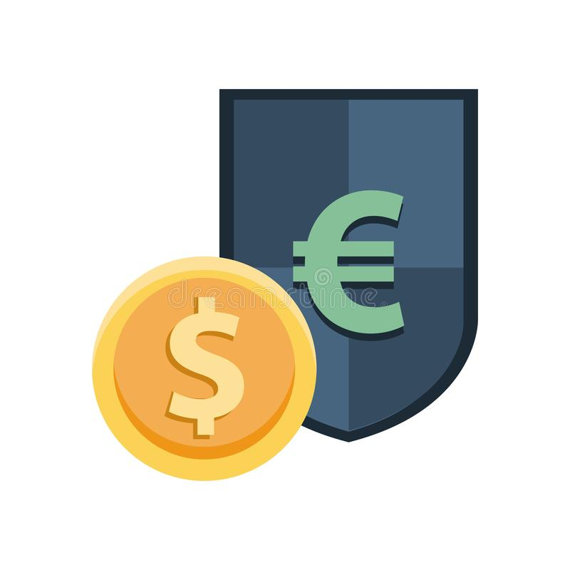 Shield with euro symbol and coin dollar stock illustration