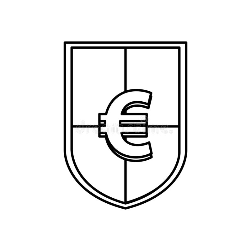 Shield with euro symbol icon royalty free illustration