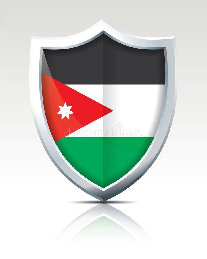Shield with Flag of Jordan. Vector illustration royalty free illustration