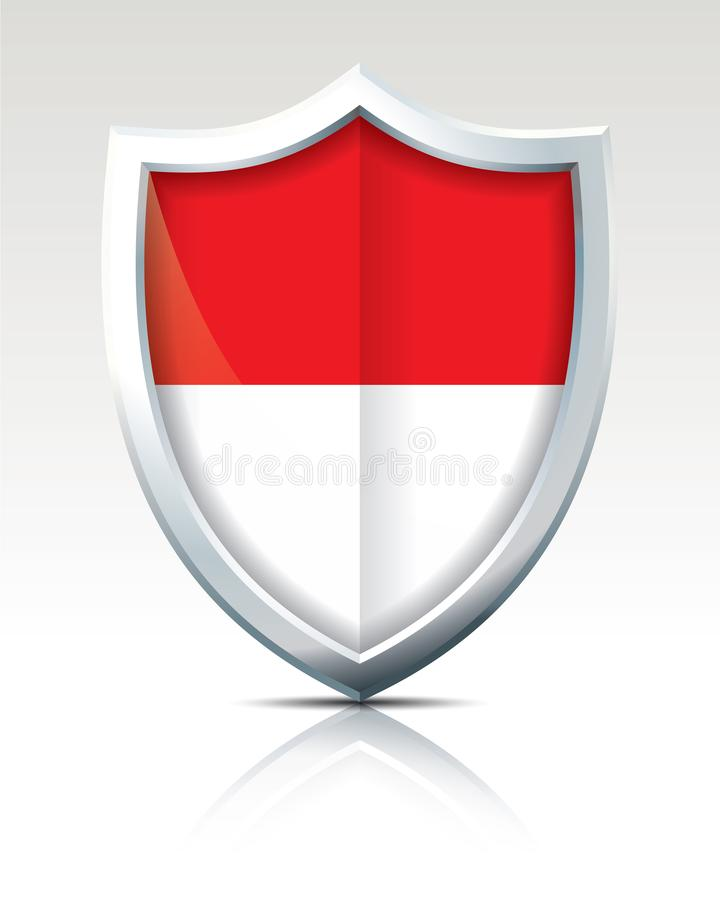 Shield with Flag of Monaco vector illustration