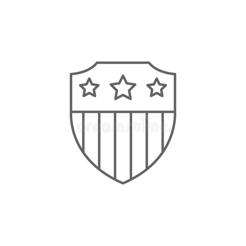 shield flag usa outline icon. Elements of independence day illustration icon. Signs and symbols can be used for web, logo, mobile vector illustration