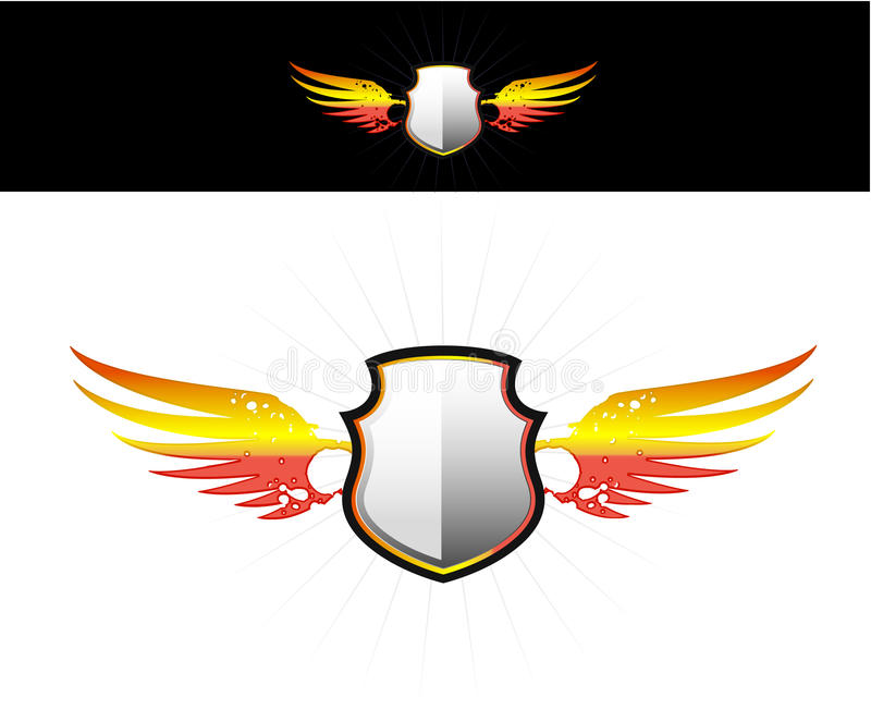 Shield on flaming wings sticker stock illustration