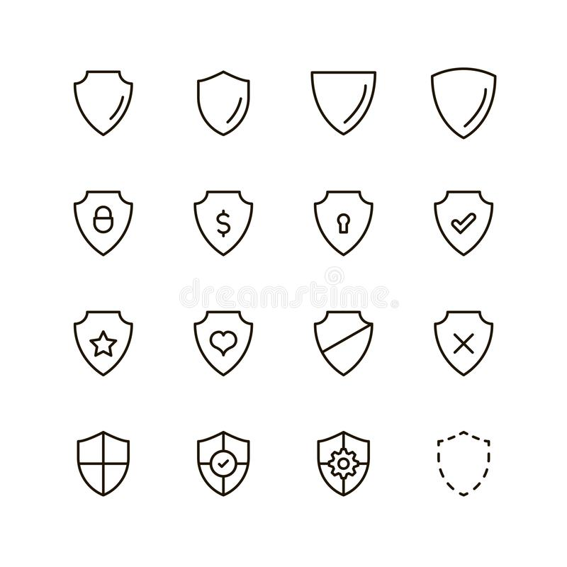 Shield flat icon. Shiled icon set. Collection of high quality outline graph protection in modern flat style. Black safety symbol for web design and mobile app on stock illustration