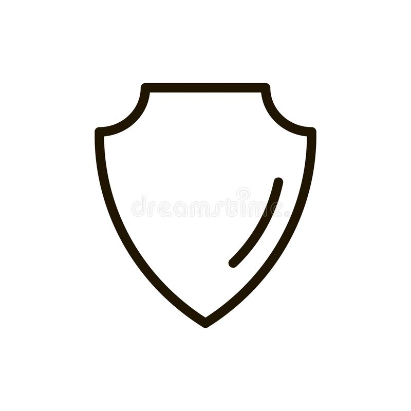 Shield flat icon. Single high quality outline symbol of security for web design or mobile app. Thin line signs of protection for design logo, visit card, etc stock illustration