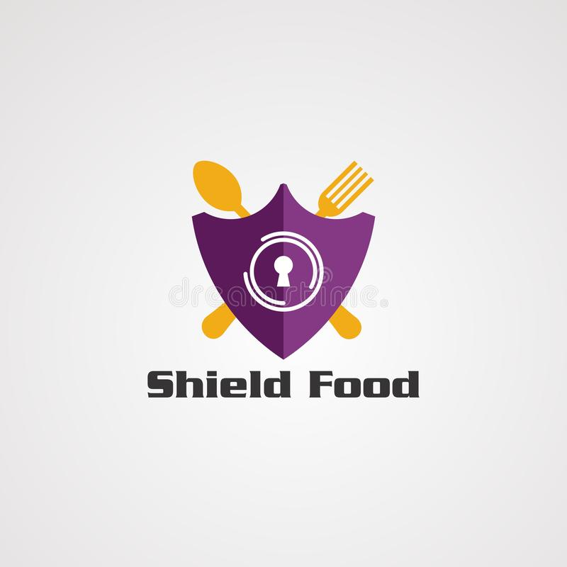 Shield food with fork spoon logo vector concept, icon, element, and template for company stock illustration