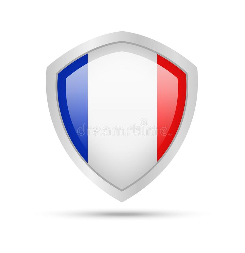 Shield with France flag on white background. royalty free illustration