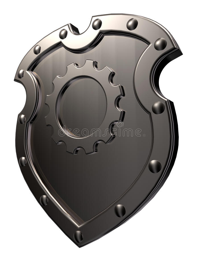 Download Shield with gear wheel stock illustration. Image of metal - 33707837