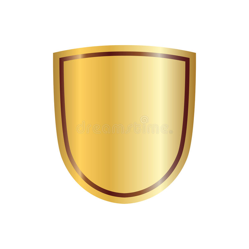 Shield gold icon shape emblem stock illustration