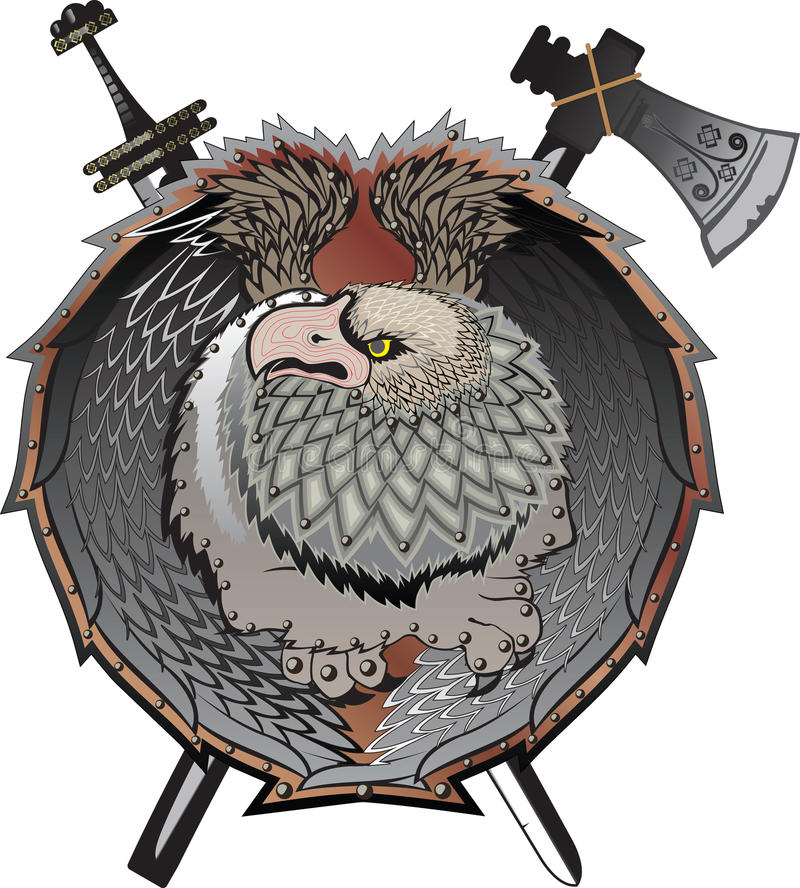 Shield with griffins.