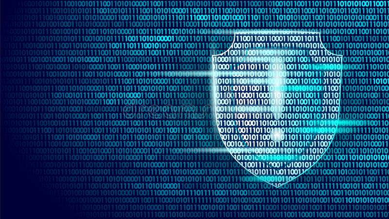 Shield guard safety system binary code flow. Big data security hacker attack computer antivirus business concept vector illustration