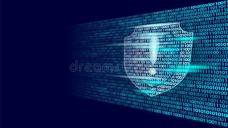 Shield guard safety system binary code flow. Big data security hacker attack computer antivirus business concept. Exclamation point information vector stock illustration