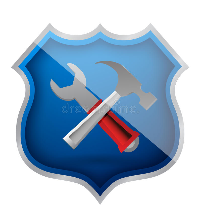 Shield Hammer And Wrench Icon Royalty Free Stock Photos