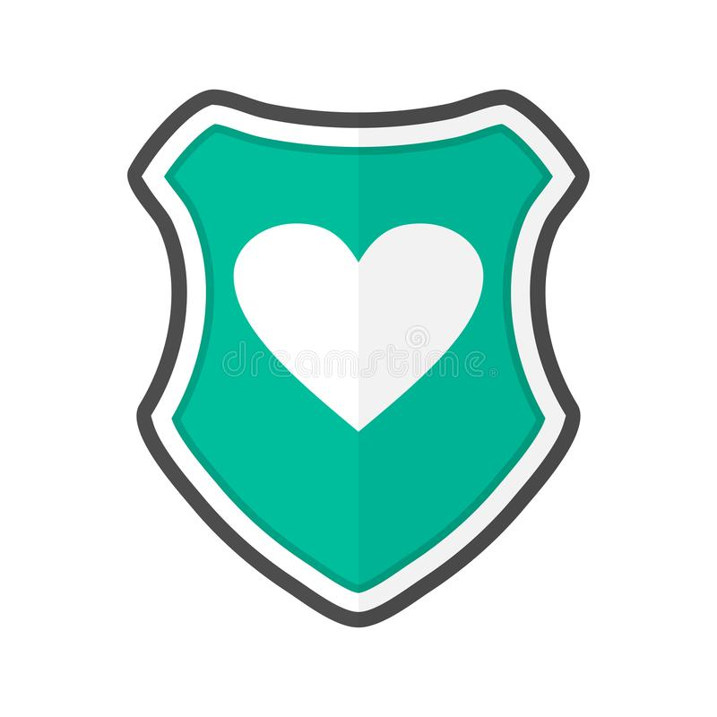 Shield with heart in a flat design. Vector illustration vector illustration