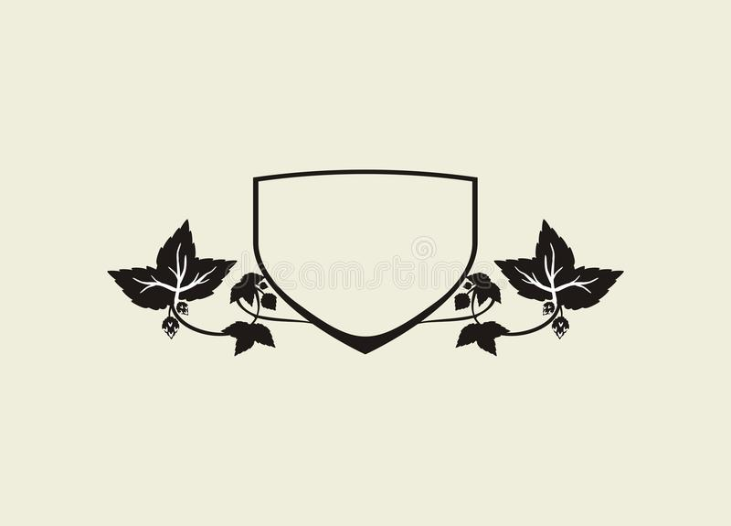Shield of hops. Image with Shield of hops isolated vector illustration