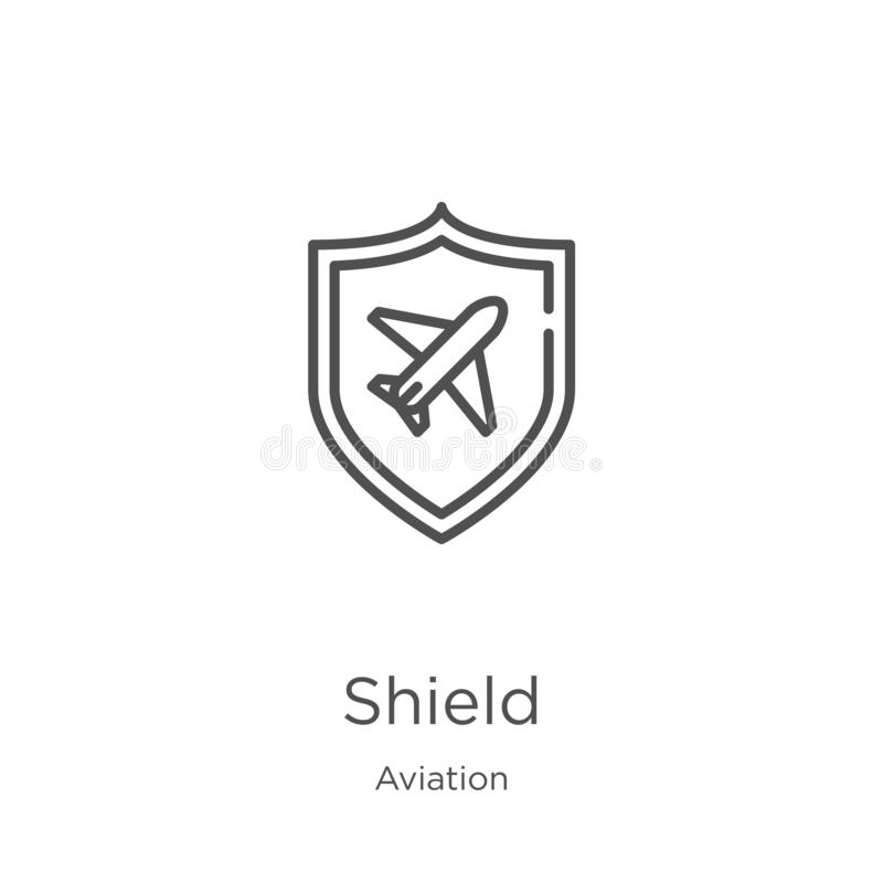Shield icon vector from aviation collection. Thin line shield outline icon vector illustration. Outline, thin line shield icon for. Shield icon. Element of stock illustration