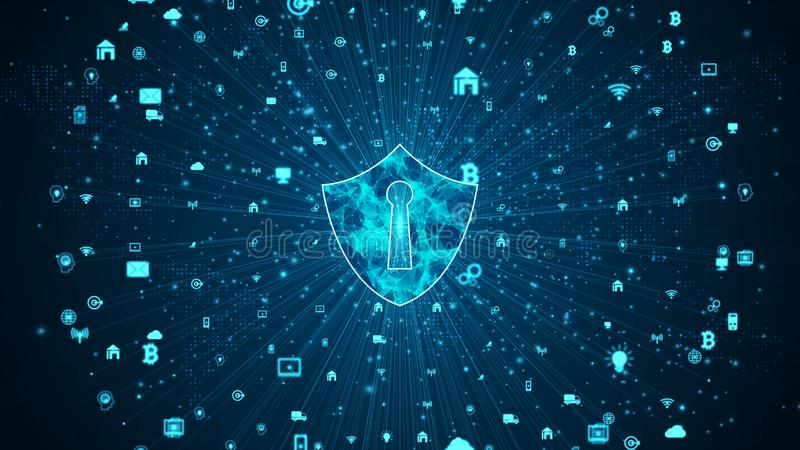 Shield Icon of secure data network, Cyber security and information network protection, Future technology network for business and stock illustration