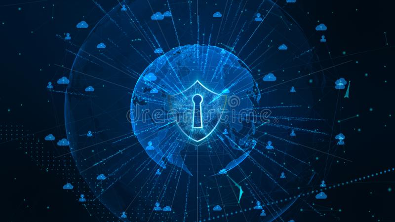 Shield Icon on Secure Global Network , Cyber Security and Protection of personal data concept. Earth element furnished by Nasa royalty free stock images