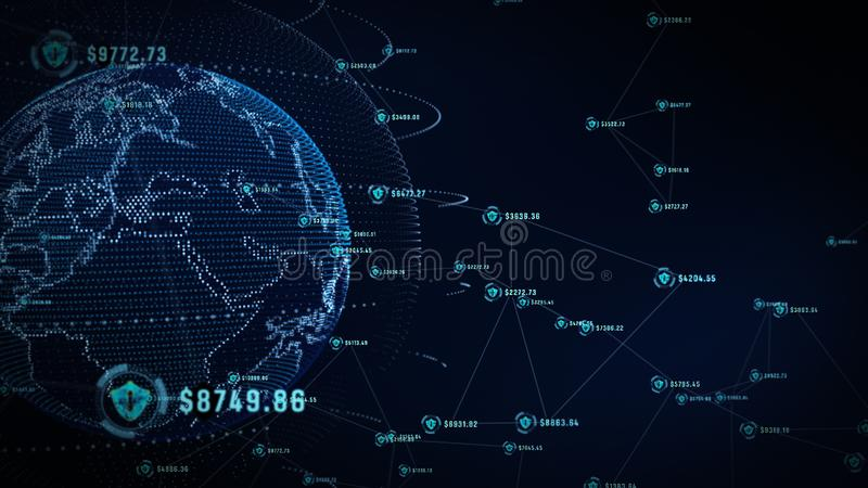 Shield icon on secure global network, Technology network and cyber security concept. Protection for worldwide connections. Earth royalty free stock images