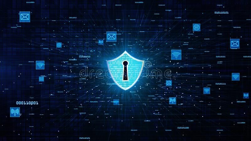 Shield Icon and Secure Network Communication, Cyber Security Concept.  royalty free illustration
