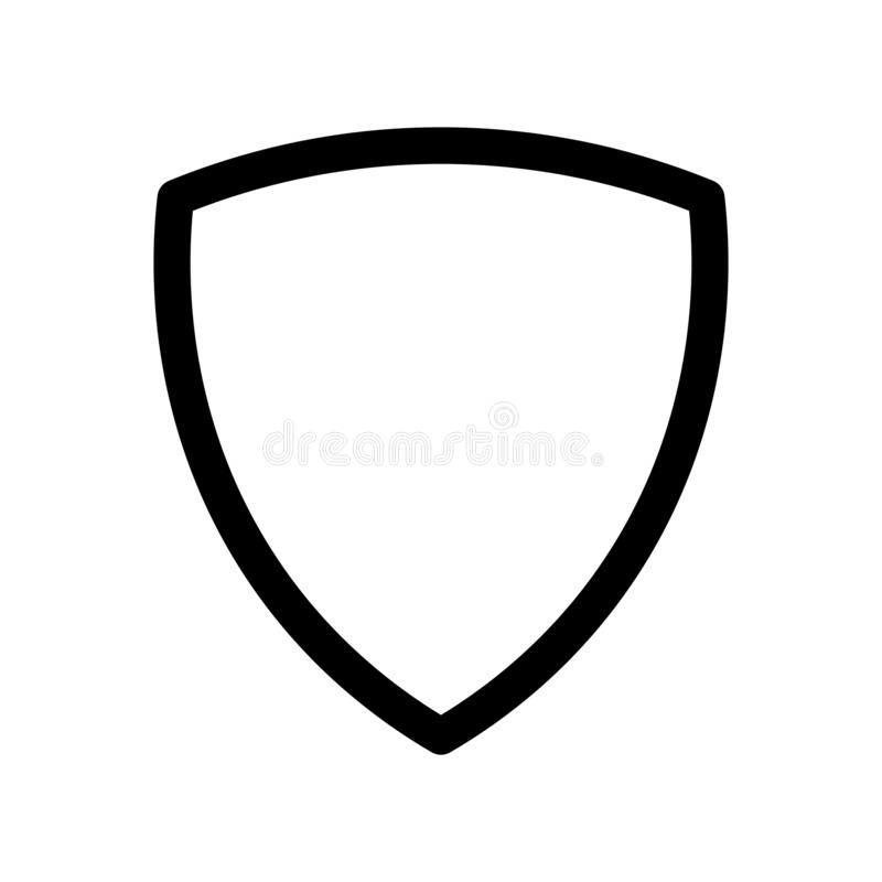 Shield icon. Symbol of security, safety and protection. Outline modern design element. Simple black flat vector sign. With rounded corners vector illustration