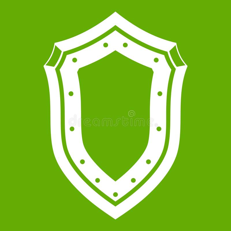 Shield icon green. Shield icon white isolated on green background. Vector illustration vector illustration