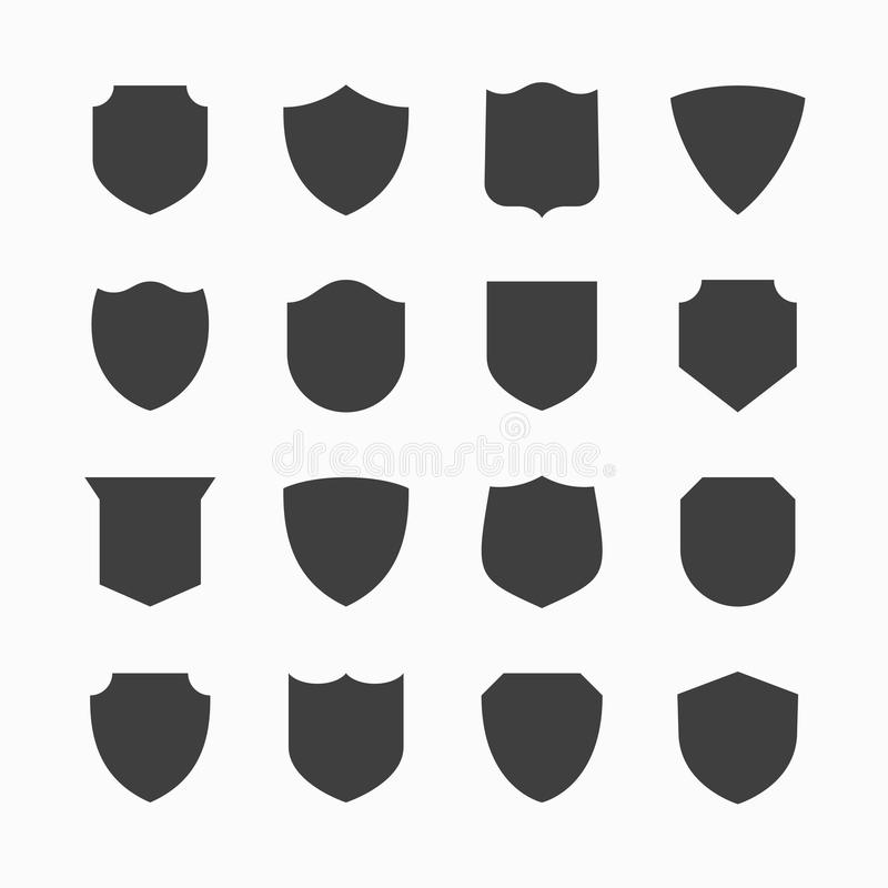 Shield icons royalty free illustration