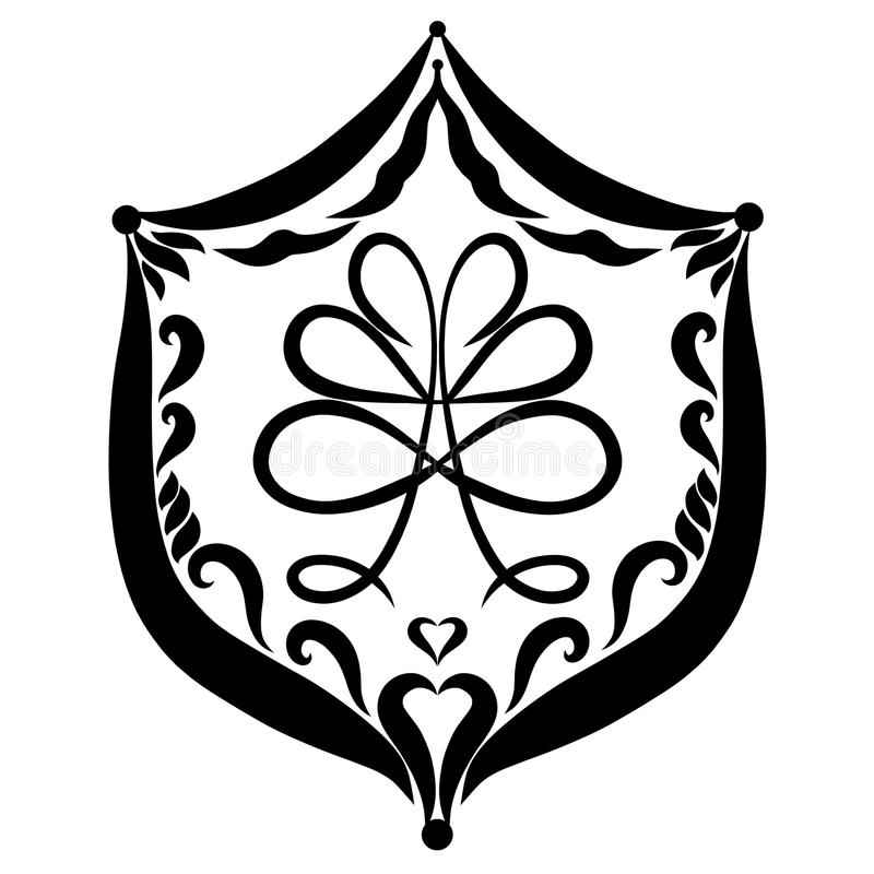 Shield with the image of the creative tree and heart royalty free illustration