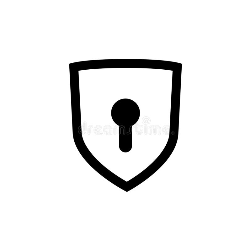 Shield with keyhole icon or sign royalty free illustration