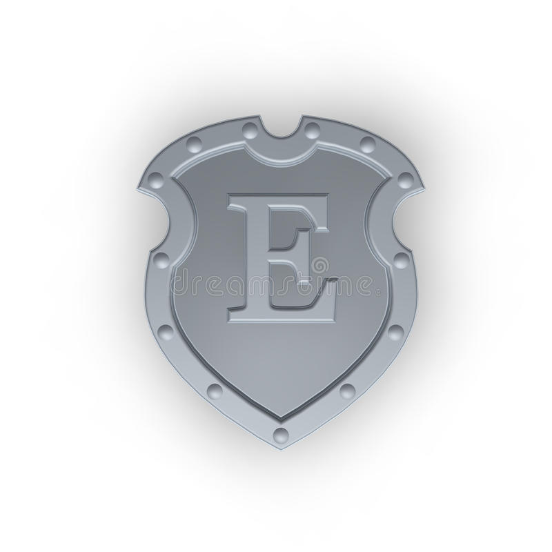 Shield with letter E vector illustration