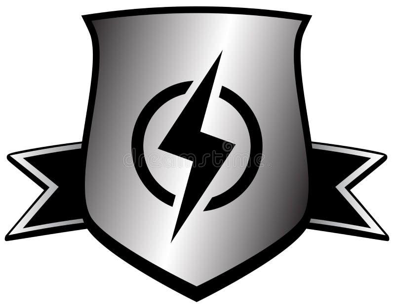 Shield with lightning - power symbol stock illustration