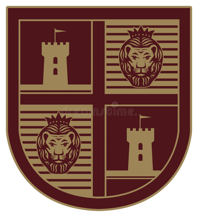 Shield with a lion vector illustration