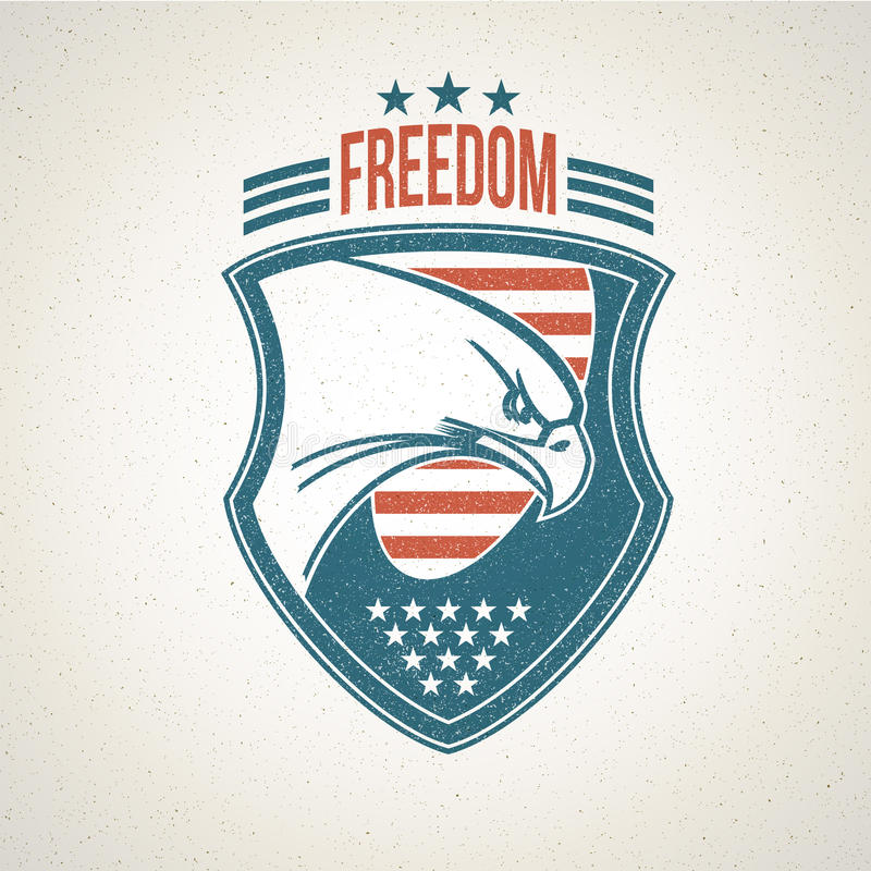 Shield logo with an American eagle symbol. Vector stock image