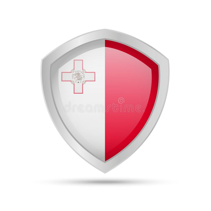 Shield with Malta flag on white background stock illustration