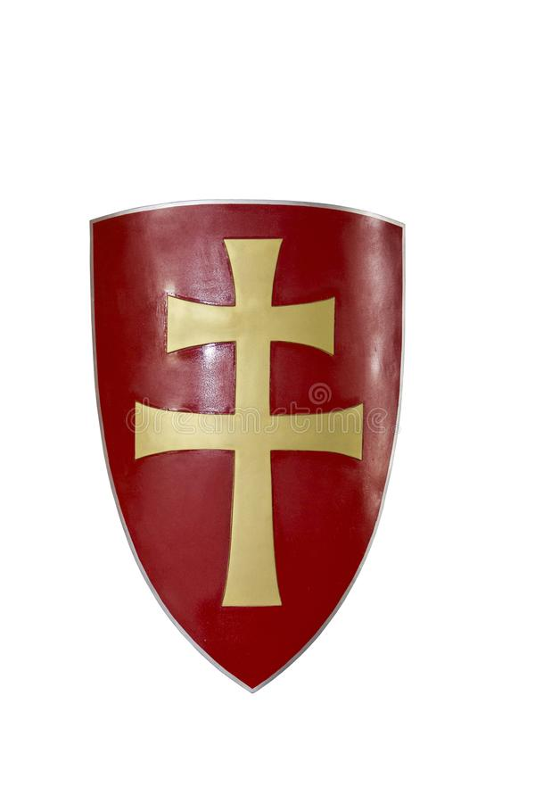 Shield of a medieval warrior with a six-pointed cross royalty free stock image