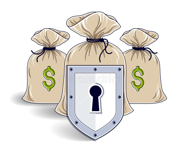Shield over money bags, savings insurance, safe business, financial protection concept, investments credits and deposit banking. Idea, vector design vector illustration