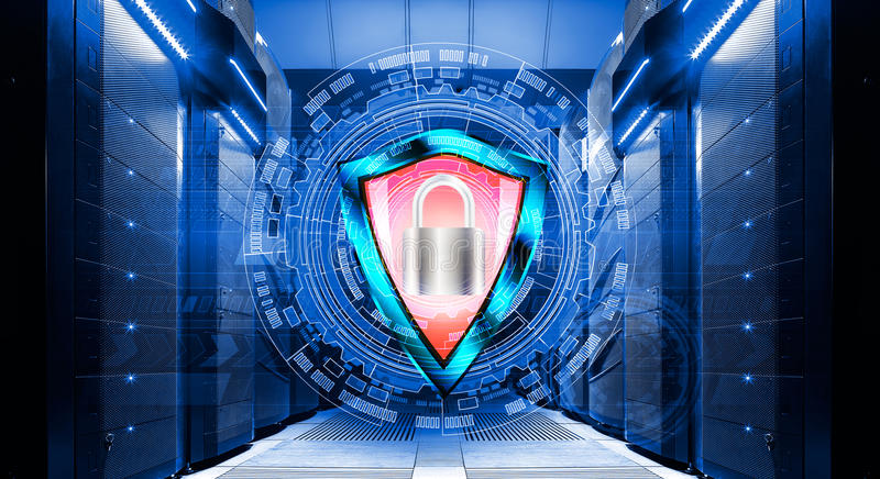 Shield with padlock on background of abstract backgrounds in data center among the rows supercomputers stock image