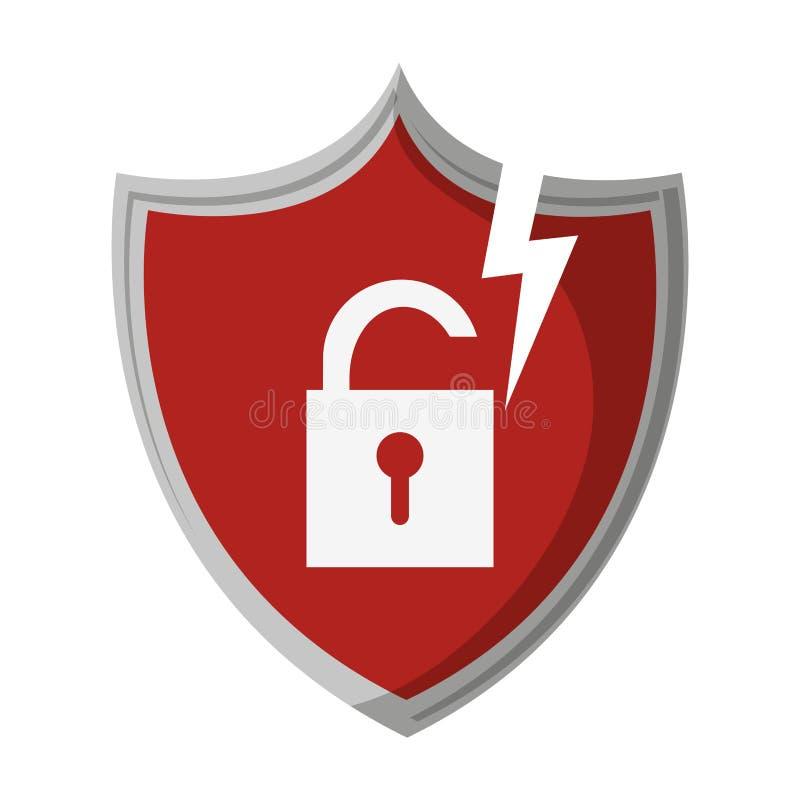 Shield with padlock on badge. Symbol vector illustration graphic design stock illustration