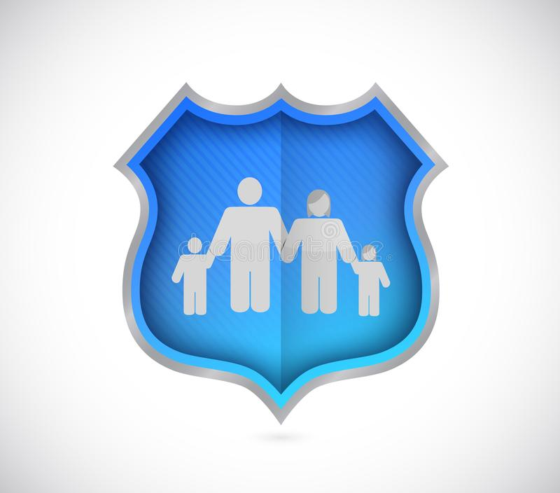 shield protecting family and house, insurance concept. royalty free illustration