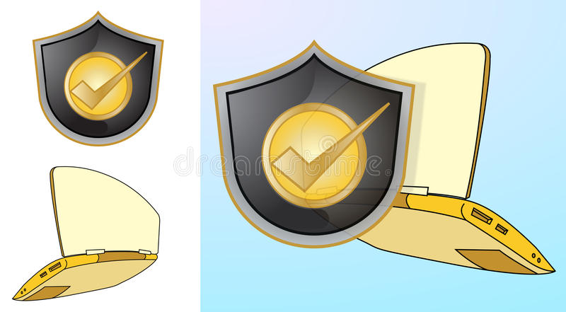 Shield Protecting Laptop Royalty Free Stock Photos