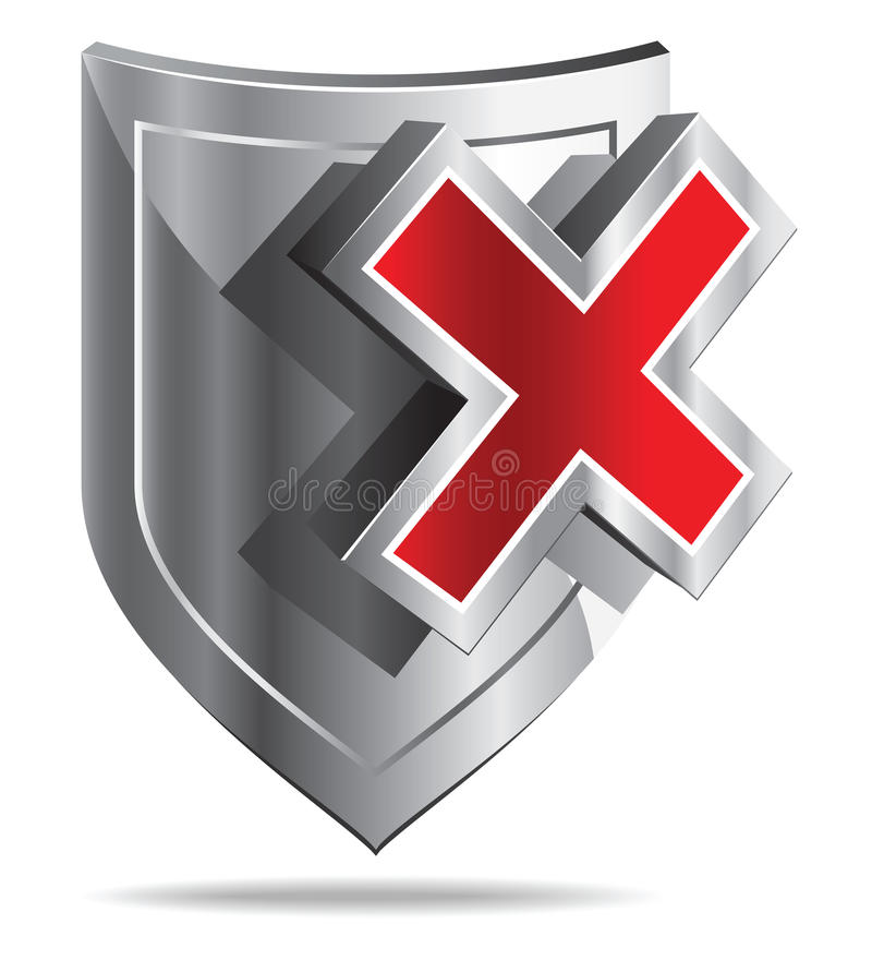 Shield (Protection OFF). Shiled and red cross on white background - stylized icon royalty free illustration