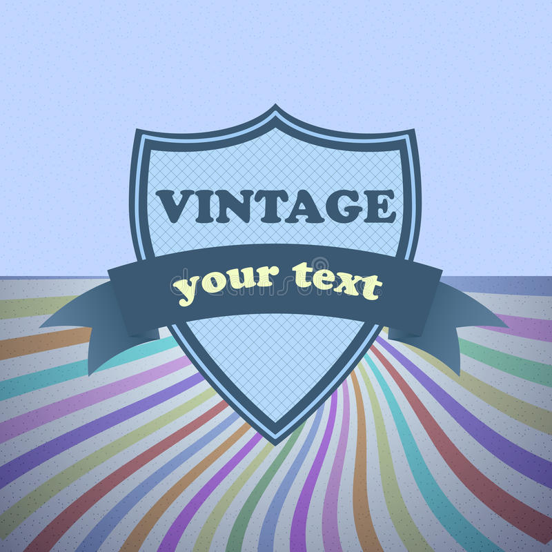 Download Shield Retro Vintage Label On Sunrays Background Stock Vector - Image: 32310617