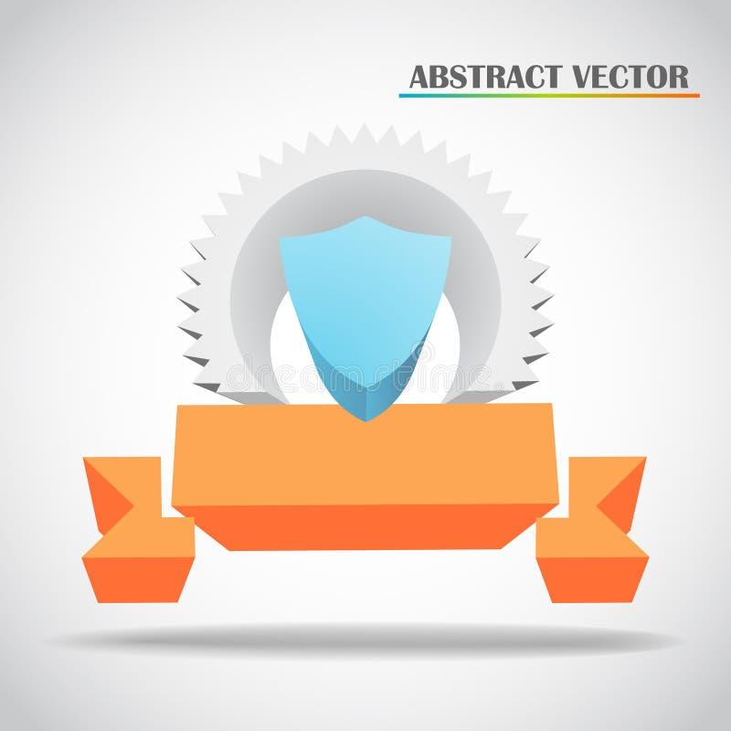 Shield And Ribbon 3d Vector Royalty Free Stock Photo