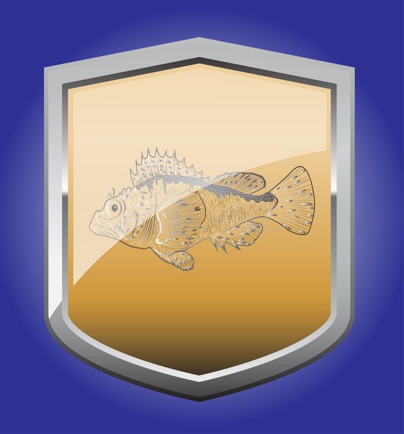 Shield ruff. Shield with a ruff sea stock illustration