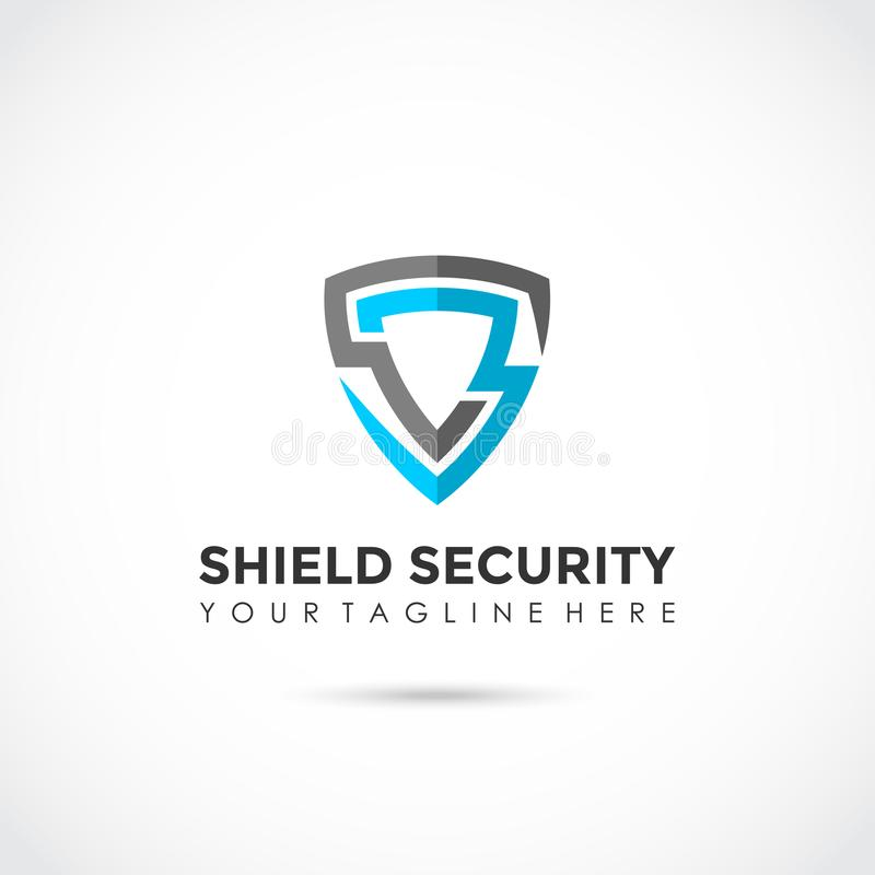 Shield Security Flat Logo Design. Vector Illustrator Eps.10 stock illustration